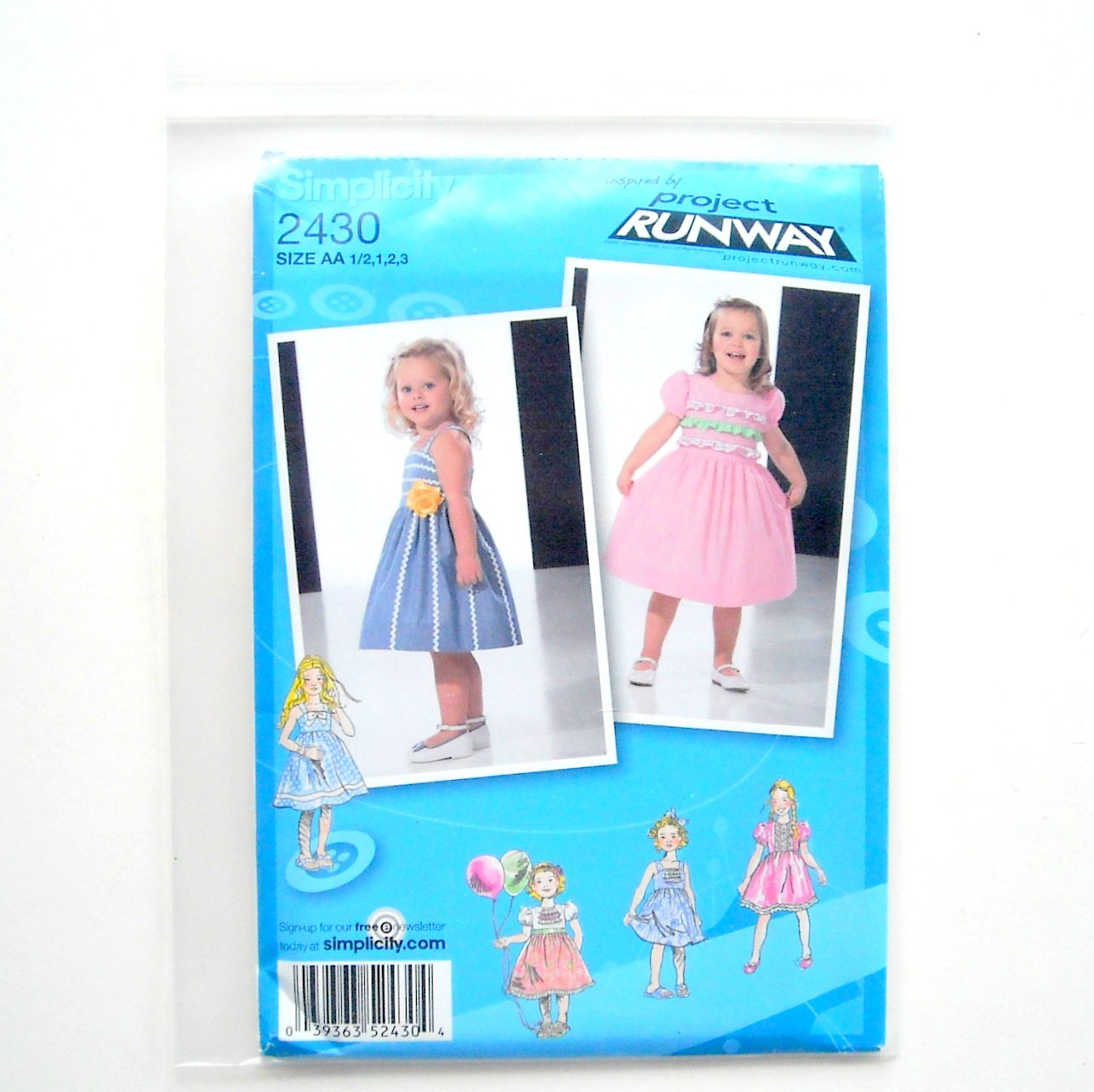 Toddlers Childs Girls Dresses 05 - 3 Project Runway Simplicity Sewing Pattern 2430