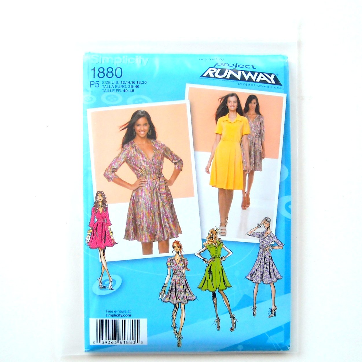 Womens Misses Dresses 12 - 20 Project Runway Simplicity Sewing Pattern 1880