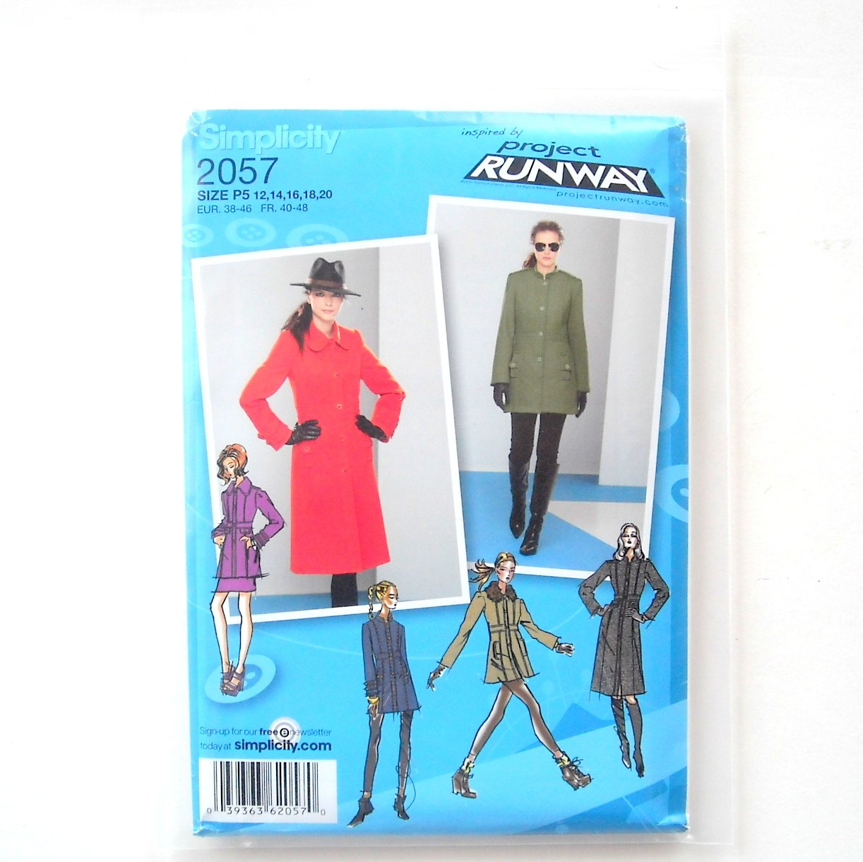 Womens Misses Coats Jacket 12 - 20 Project Runway Simplicity Sewing Pattern 2057