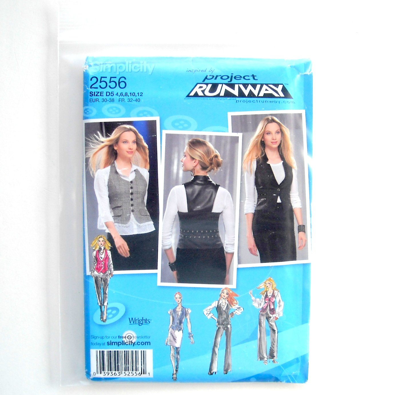 Misses Vest 4 6 8 10 12 Project Runway Simplicity Sewing Pattern 2556