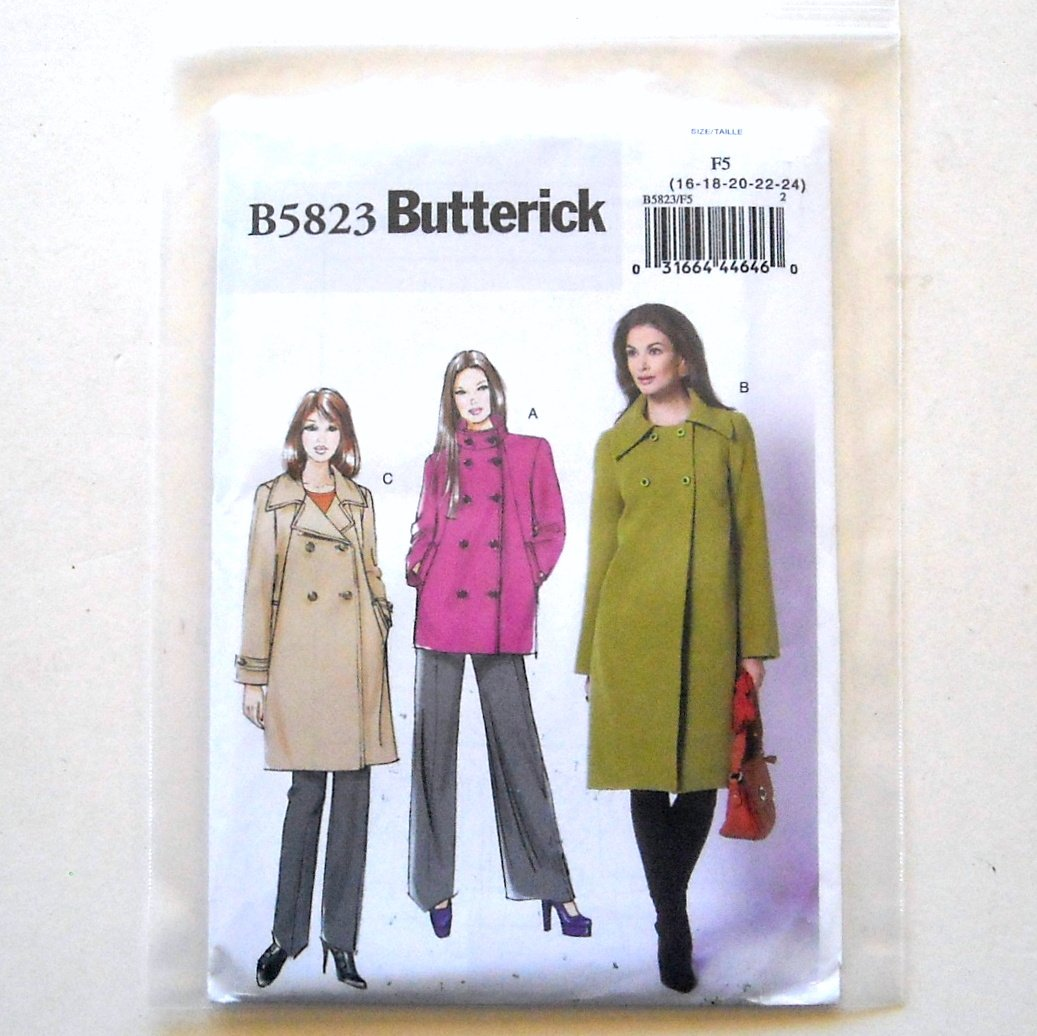 Jacket and Coat Size 16 - 24 Butterick Sewing Pattern B5823