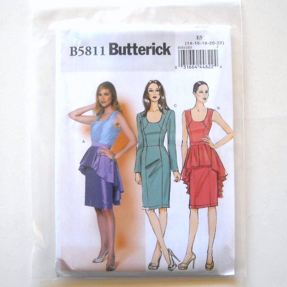 Misses' Evening Dress Peplum Size 14 - 22 Butterick Pattern B5811