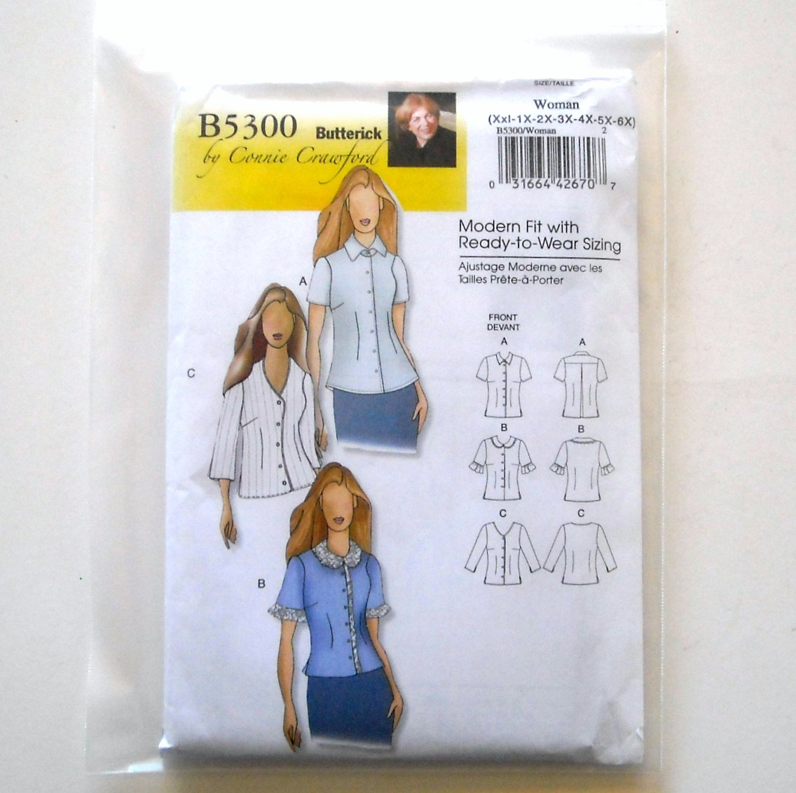 Women's Blouse Size XXL - 6X Connie Crawford Butterick Pattern B5300