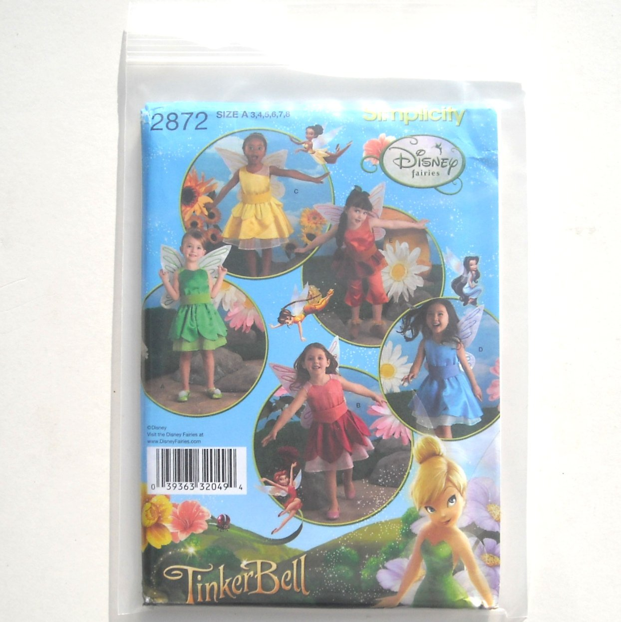Girls Childs Costume Disney TinkerBell Simplicity Sewing Pattern 2872