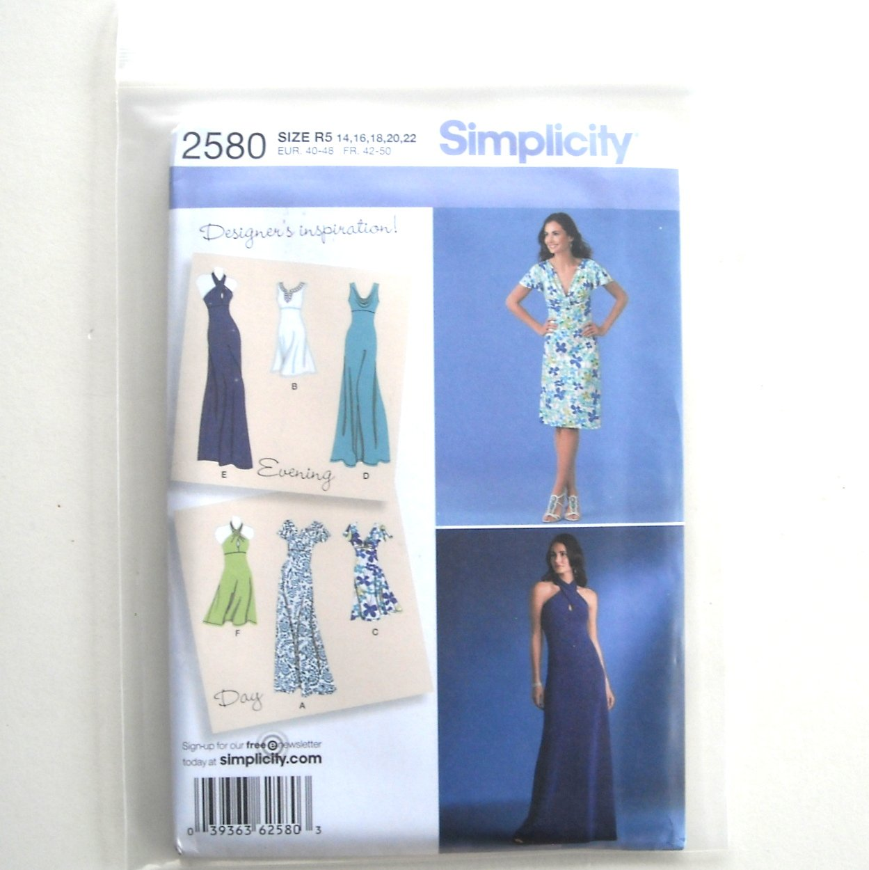 Misses Day Evening Special Occasion Dress 14 - 22 Simplicity Sewing Pattern 2580