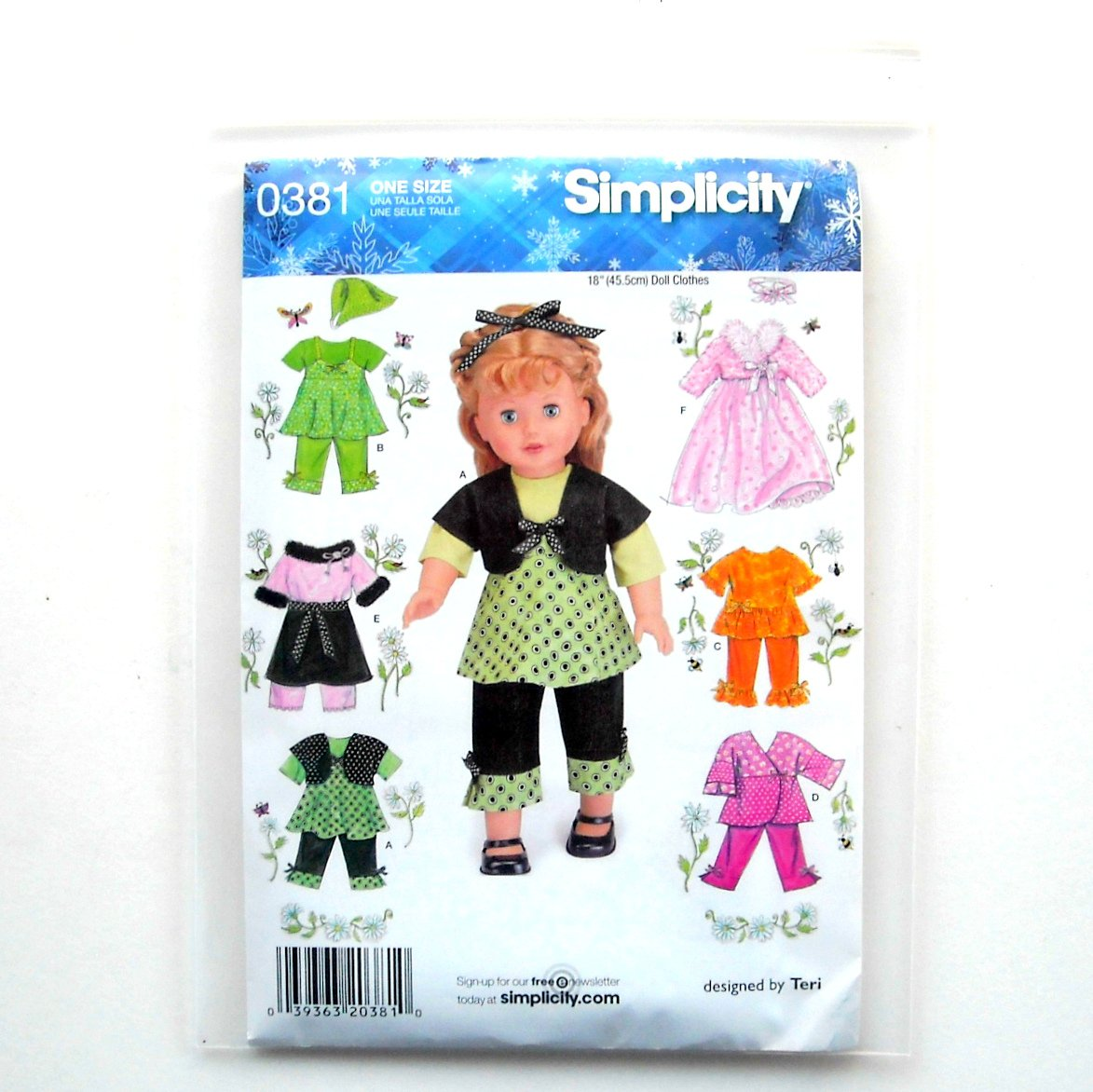 Doll 18 Inches Clothes Craft Simplicity Sewing Pattern 0381