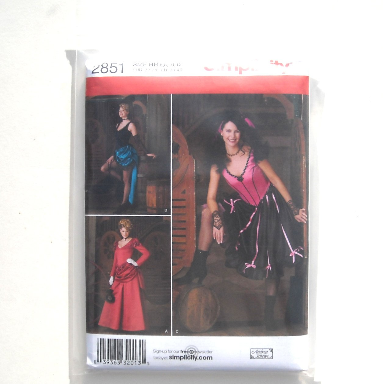 Misses Saloon Girl Costumes Simplicity Sewing Pattern 2851