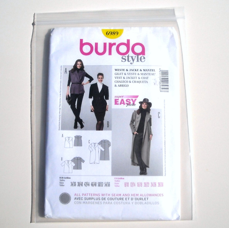 Misses Vest Jacket Coat Burda Style Sewing Pattern 6989