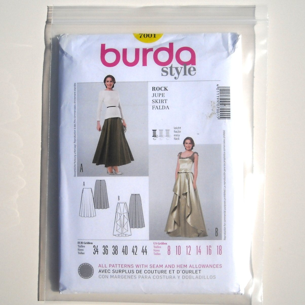 Misses Skirt Burda Style Sewing Pattern 7001