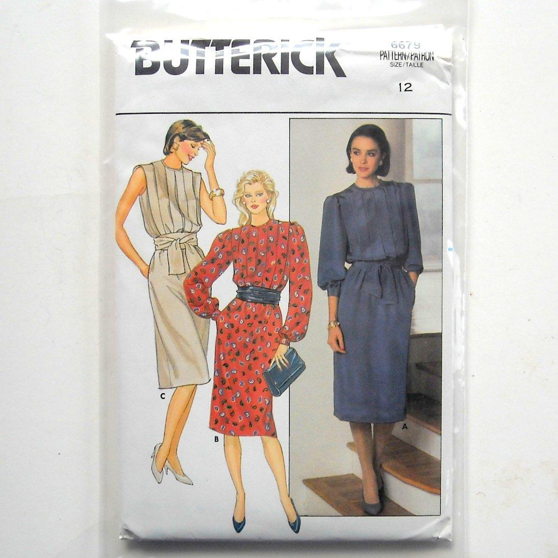 Dress Misses Size 12 Vintage Butterick Sewing Pattern 6679