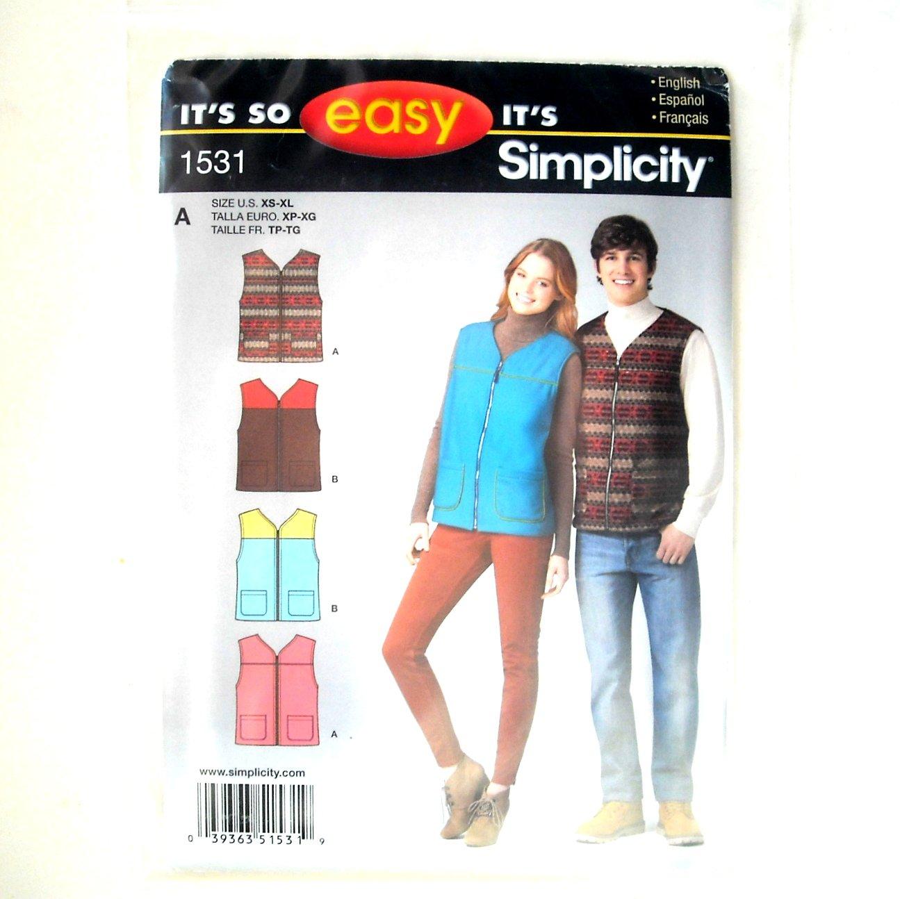 Misses Mens Vest Size XS XL Easy Simplicity Pattern 1531