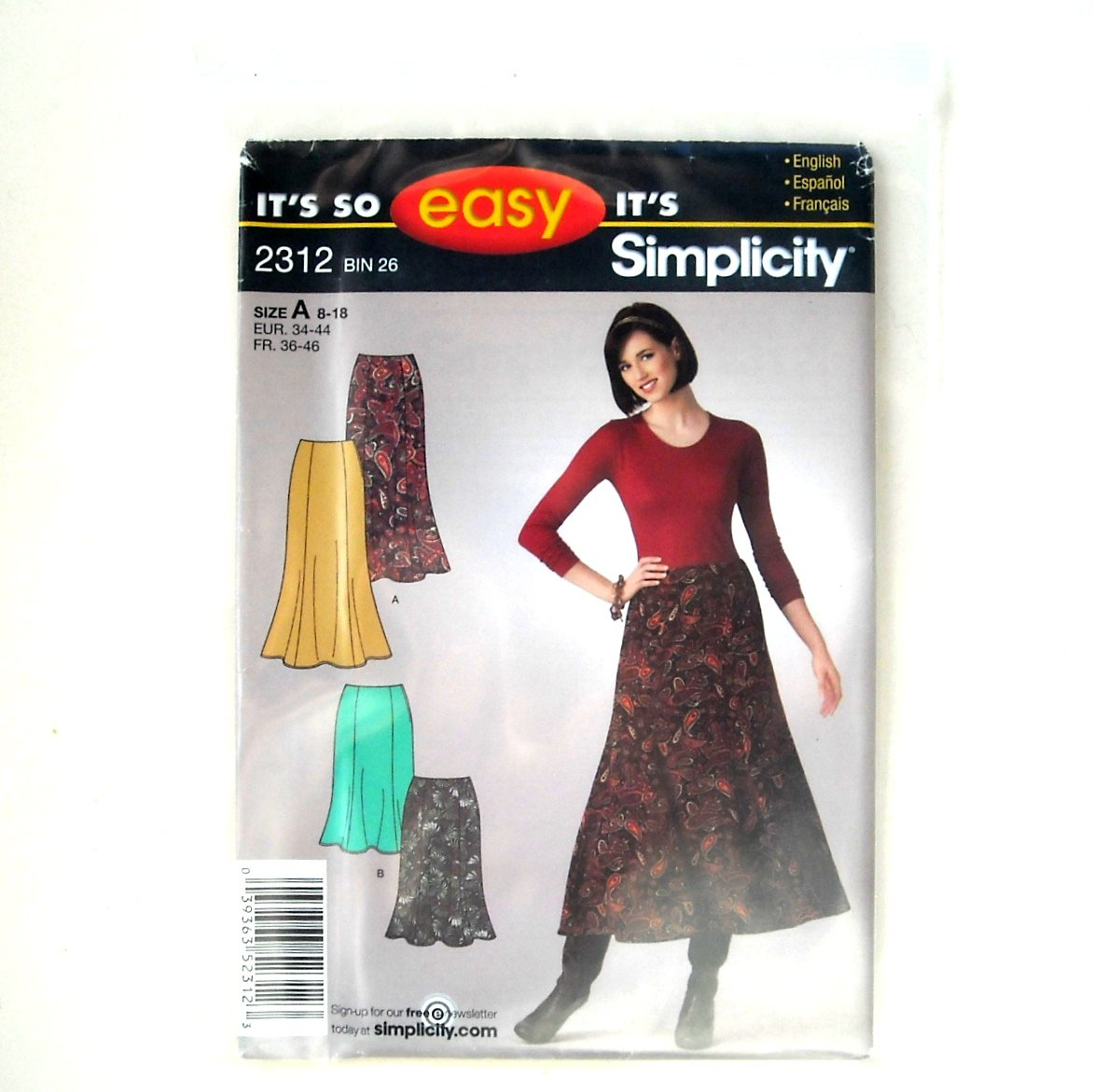 Misses Skirt Size 8 10 12 14 16 18 Easy Simplicity Pattern 2312