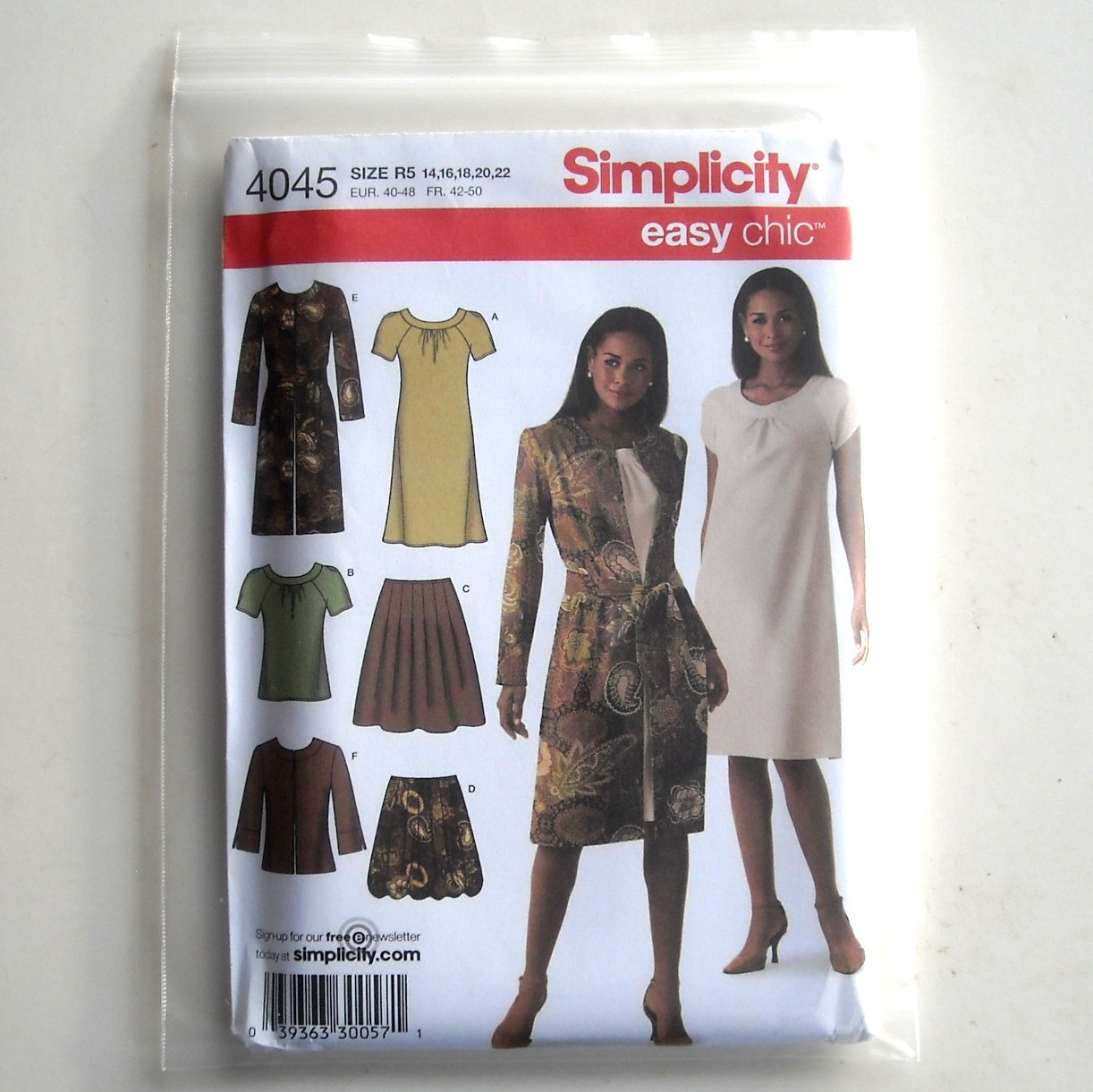 Misses Skirt Dress Top Jackets Simplicity Sewing Pattern 4045