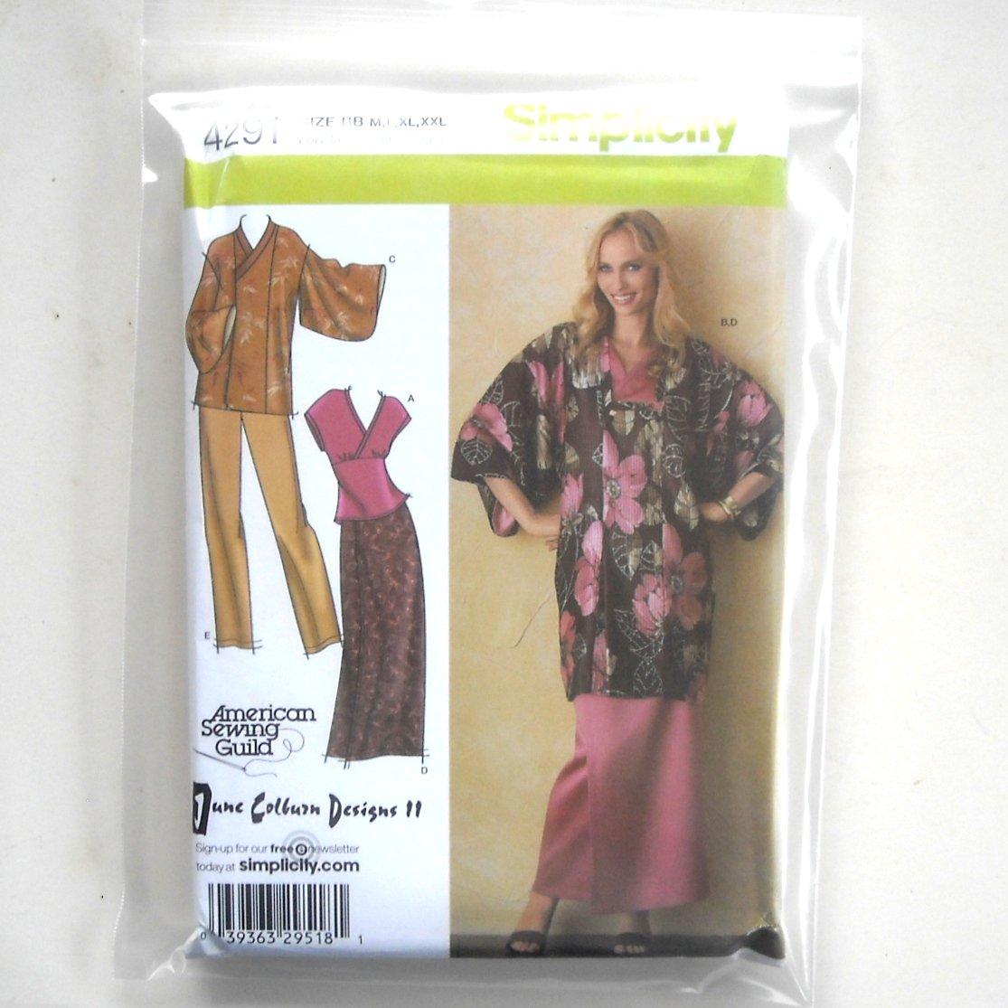Lined Kimono Top Pants Skirt Simplicity Sewing Pattern 4291