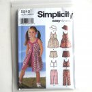 Childs Girls Dress Top Pants Shorts Hat Easy To Sew Simplicity Pattern 5540