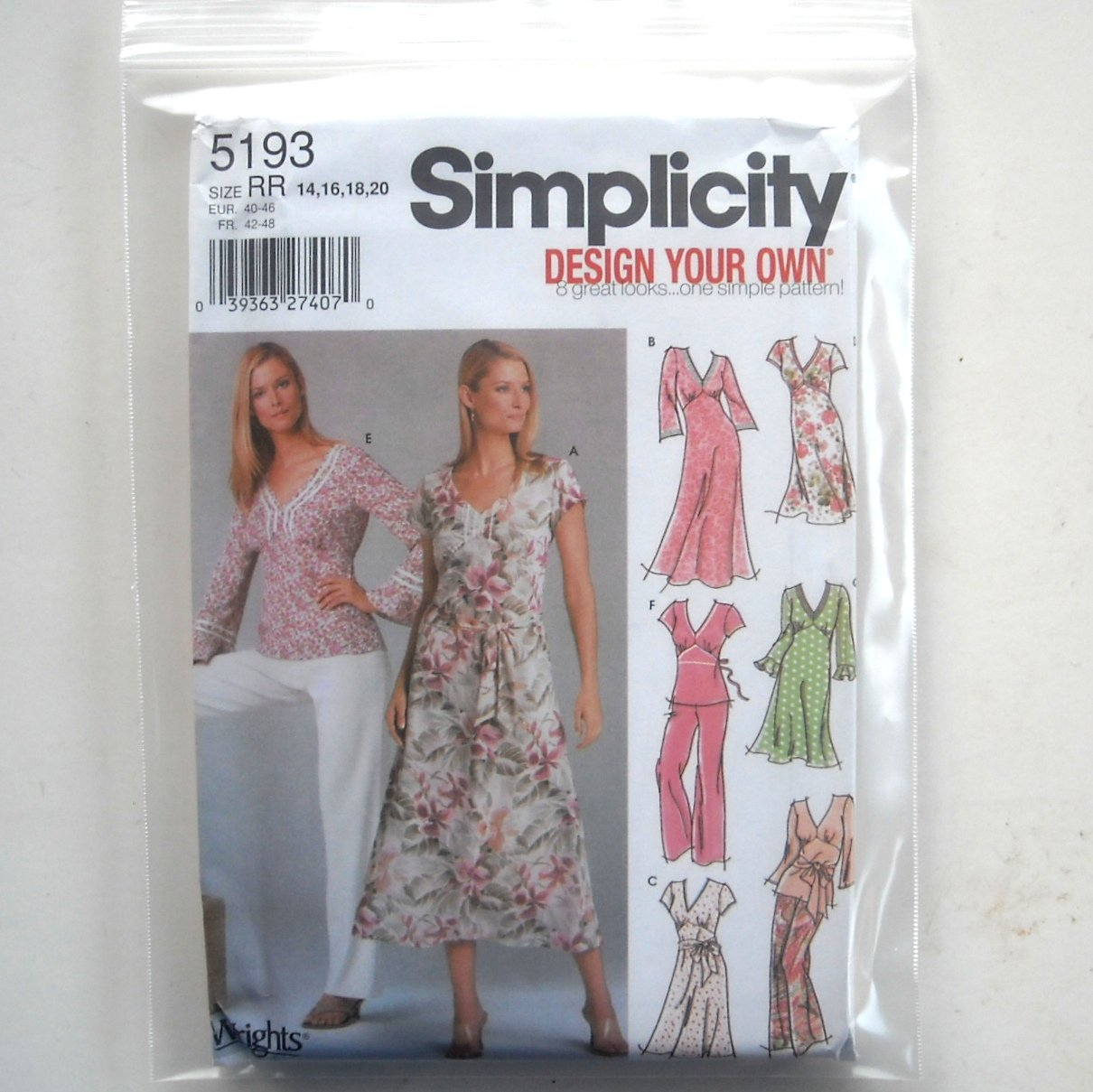 Misses Dress Top Pants 14 16 18 20 Simplicity Sewing Pattern 5193