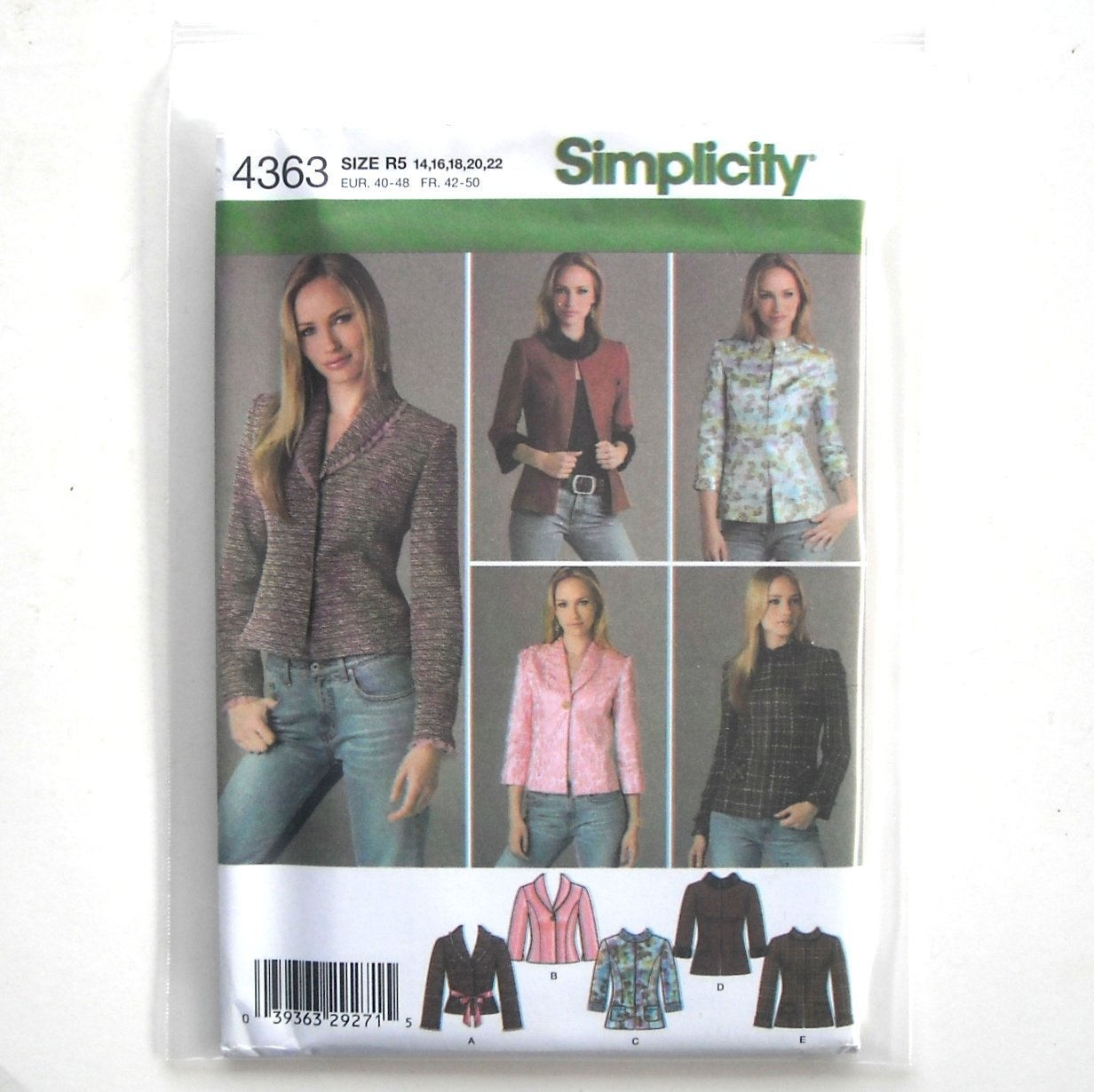 Misses Lined Jackets 14 16 18 20 22 Simplicity Sewing Pattern 4363