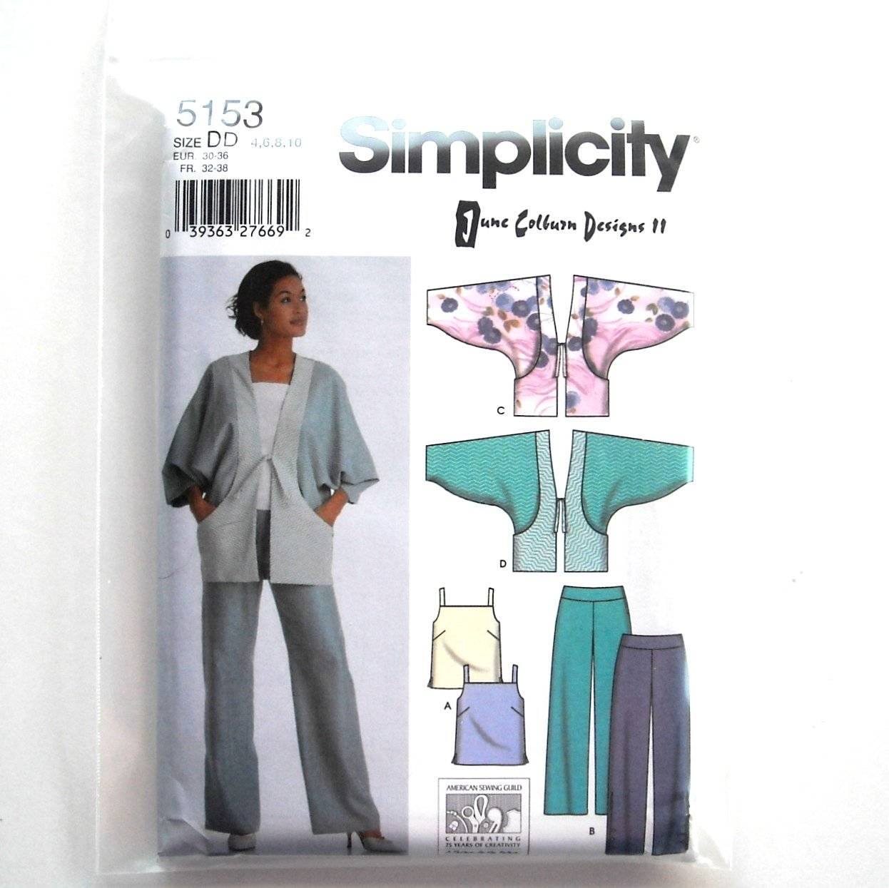 Pants Tops Jacket Misses 4 6 8 10 Simplicity Sewing Pattern 5153