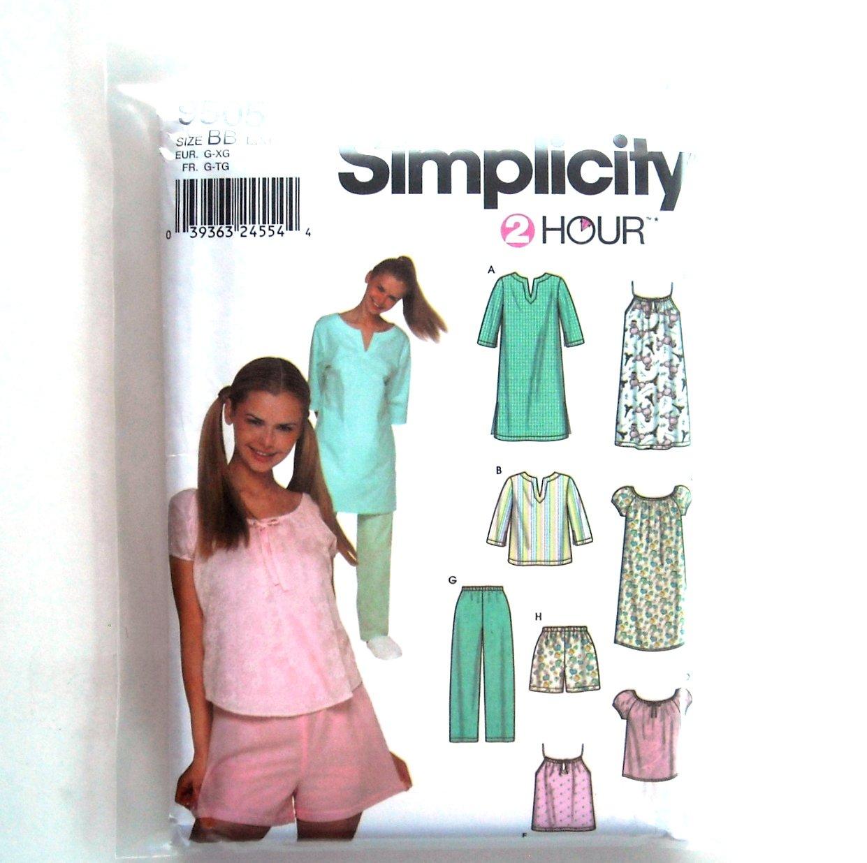 Misses Pajamas Nightshirt L XL Simplicity Sewing Pattern 9505