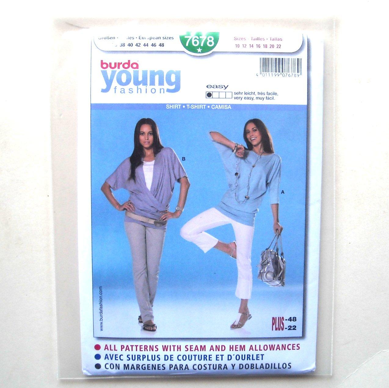 Misses Top T Shirt Burda Young Fashion Sewing Pattern 7678