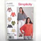 Misses Womens Easy Knit Tops XXS XS S M L XL XXL Simplicity Sewing Pattern S0880