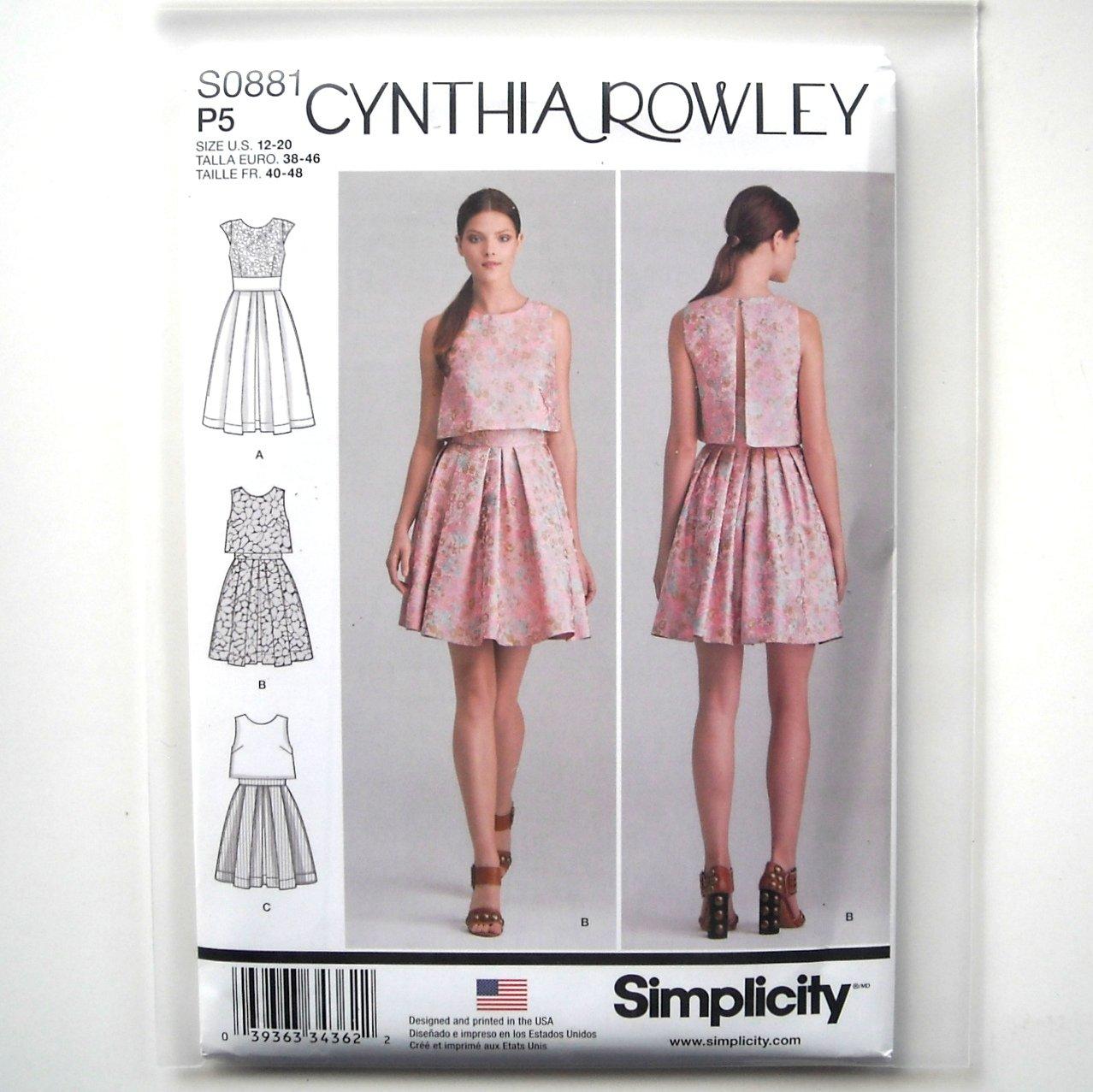 Cynthia Rowley Sewing Patterns: Misses Dress 12 14 16 18 20 Cynthia Rowley Simplicity