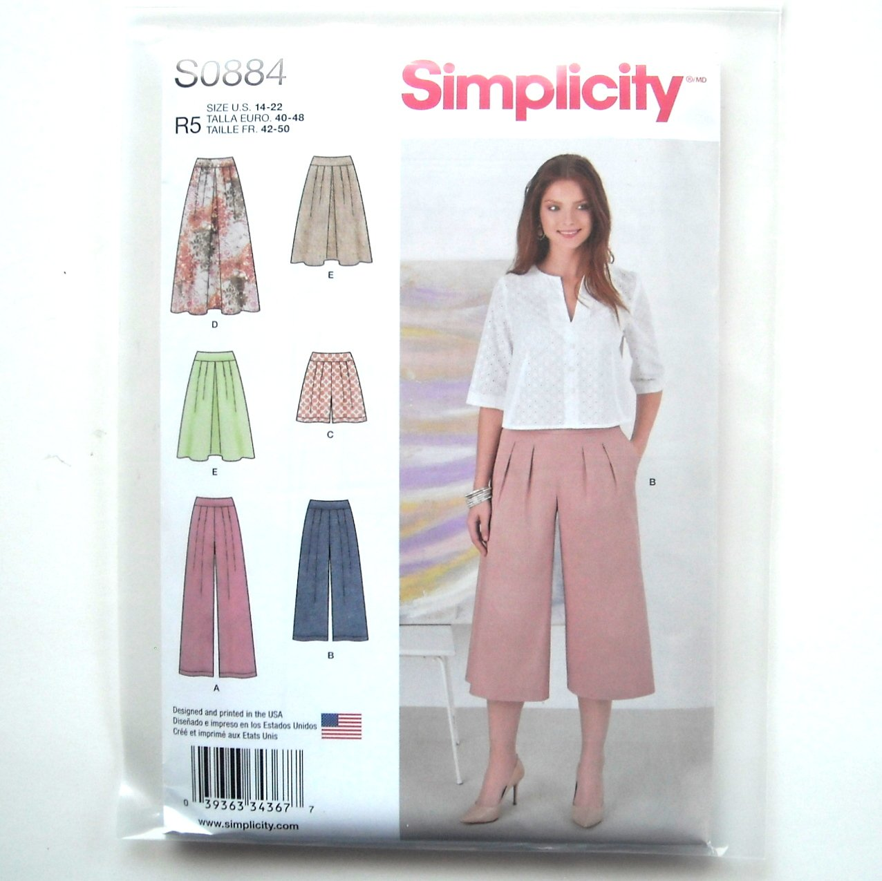 Misses Skirt Pants Shorts 14 16 18 20 22 Simplicity Sewing Pattern S0884
