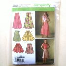 Misses Womens Summer Flared Skirts Belt Simplicity Pattern 4188