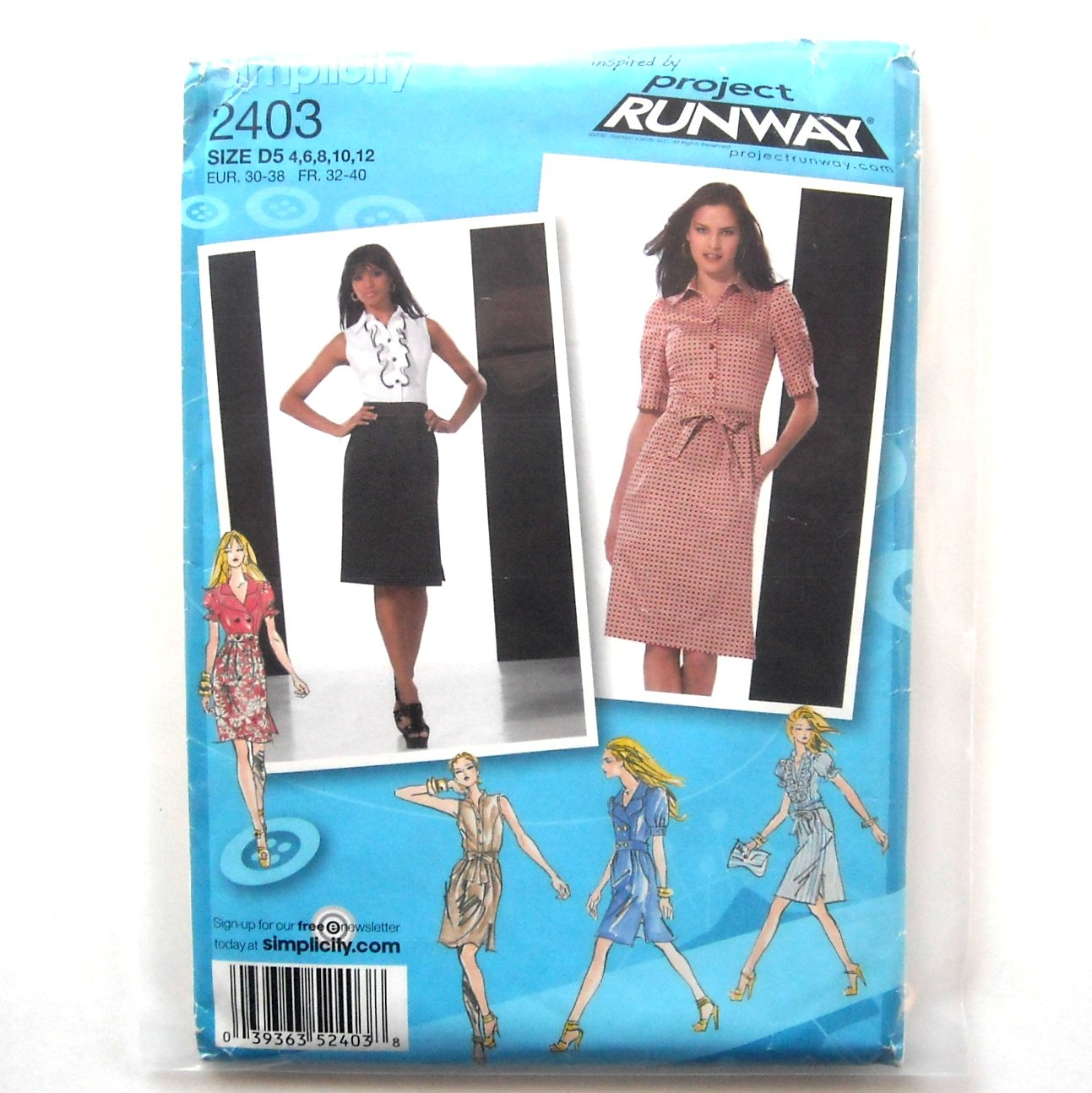 Womens Misses Dress 4 6 8 10 12 Project Runway Simplicity Sewing Pattern 2403