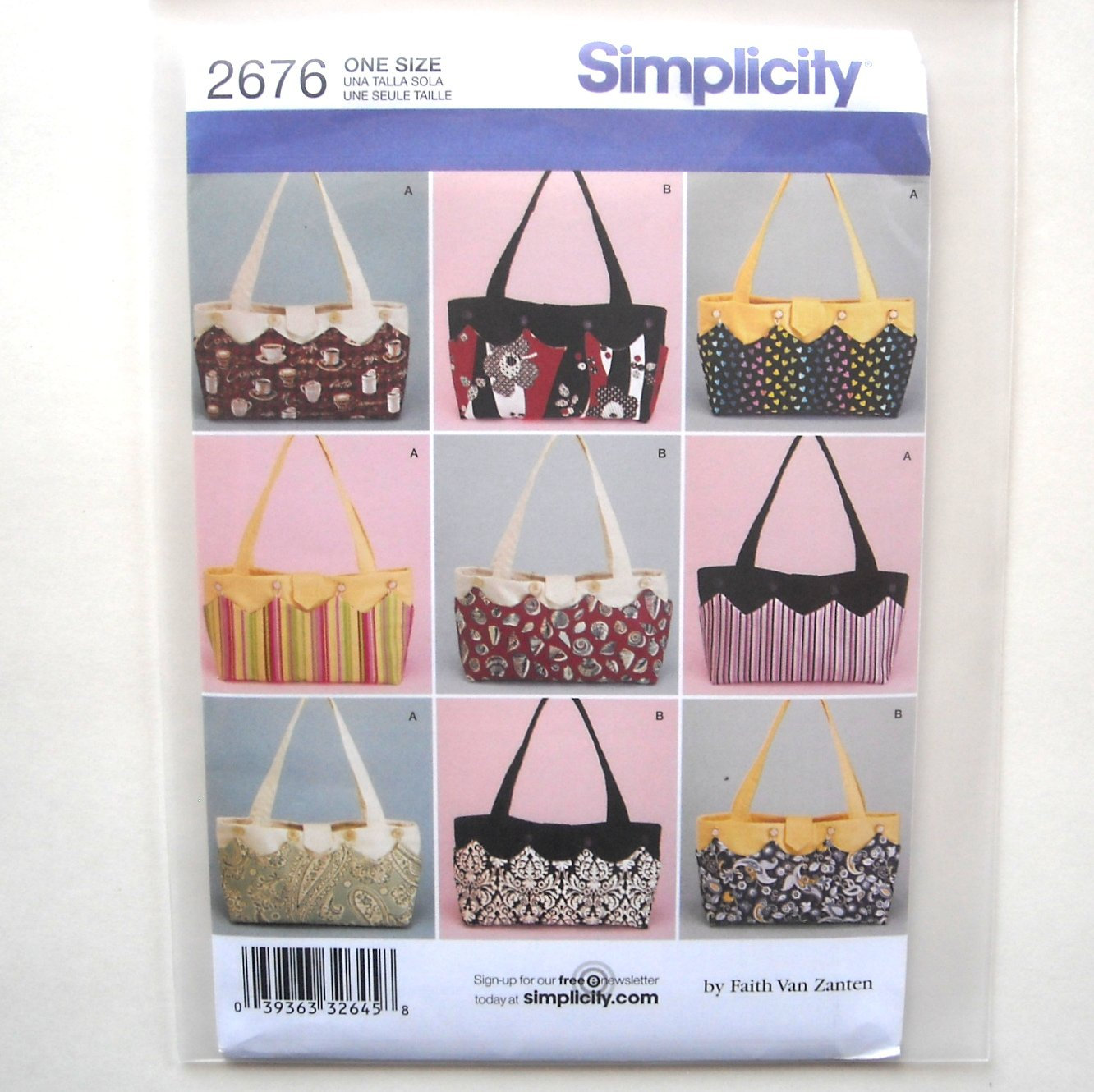 Misses Bag Accessories Simplicity Sewing Pattern 2676