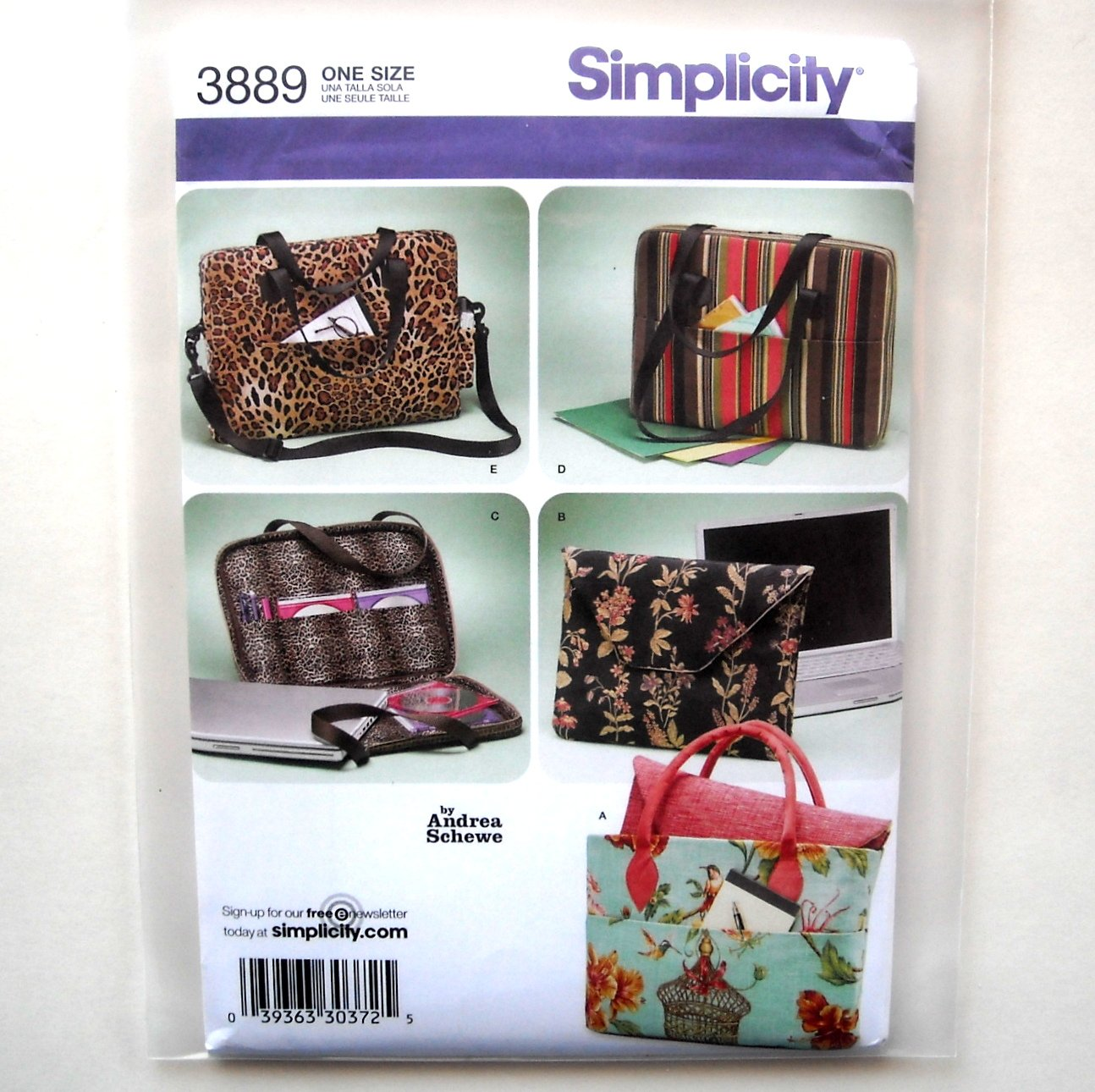 Laptop Computer Bags Simplicity Sewing Pattern 3889