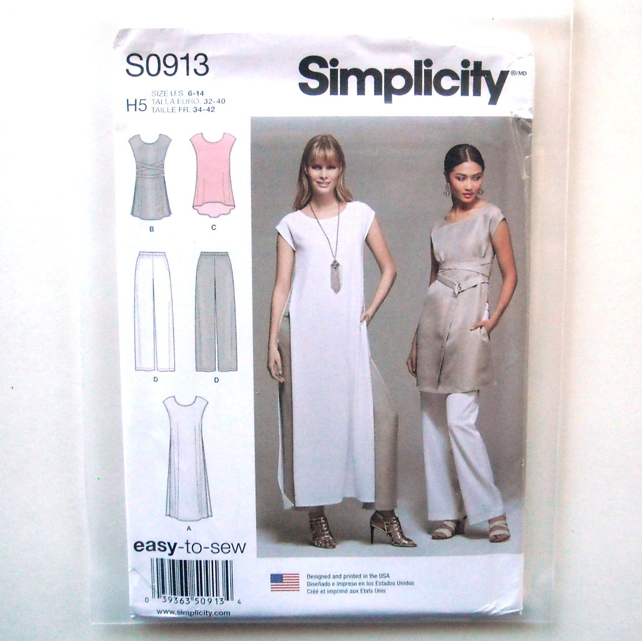 Misses Tunics Pants 6 8 10 12 14 Simplicity Sewing Pattern S0913
