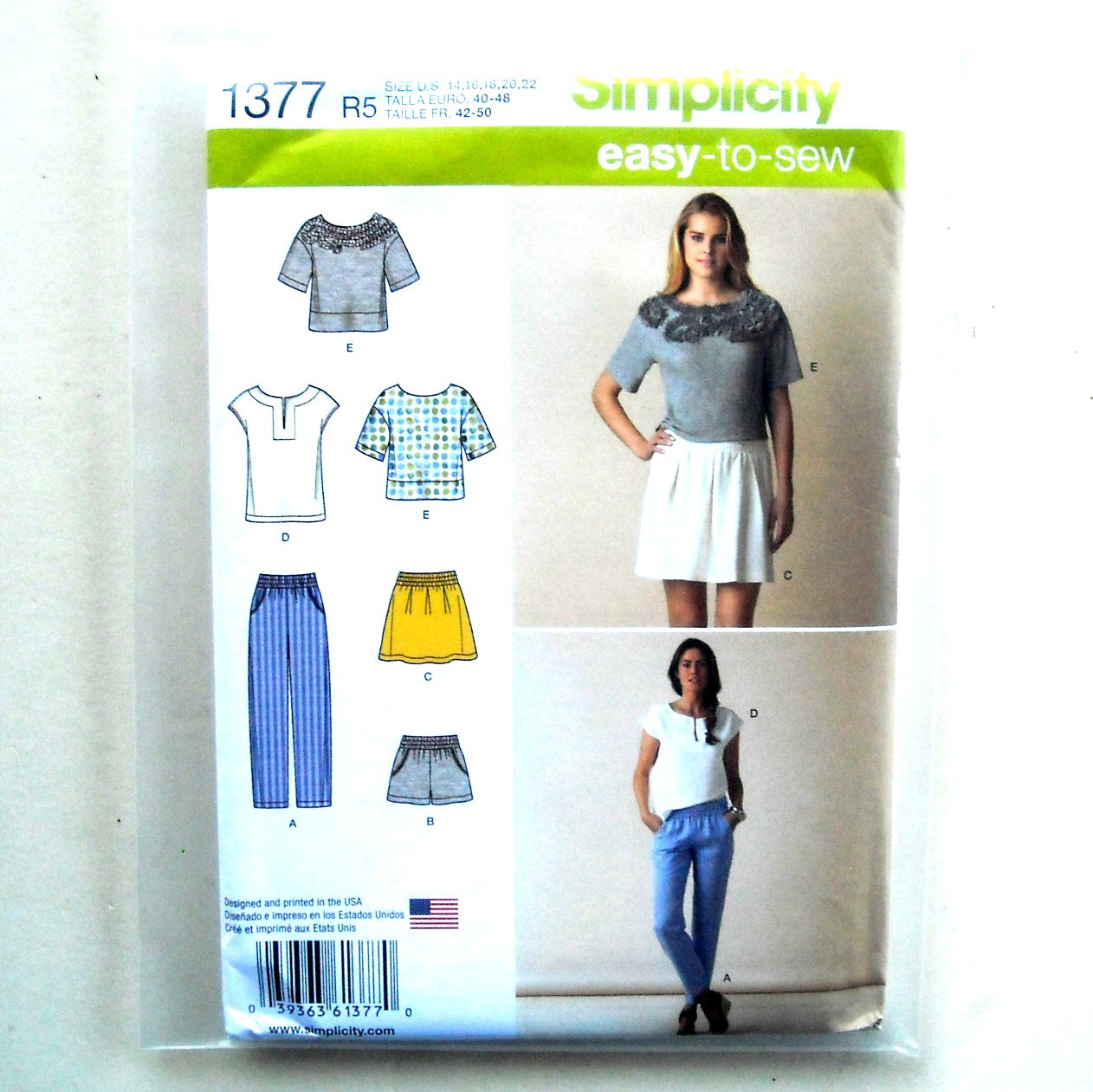 Easy Tops Pull On Bottoms 14 16 18 20 22 Simplicity Sewing Pattern 1377