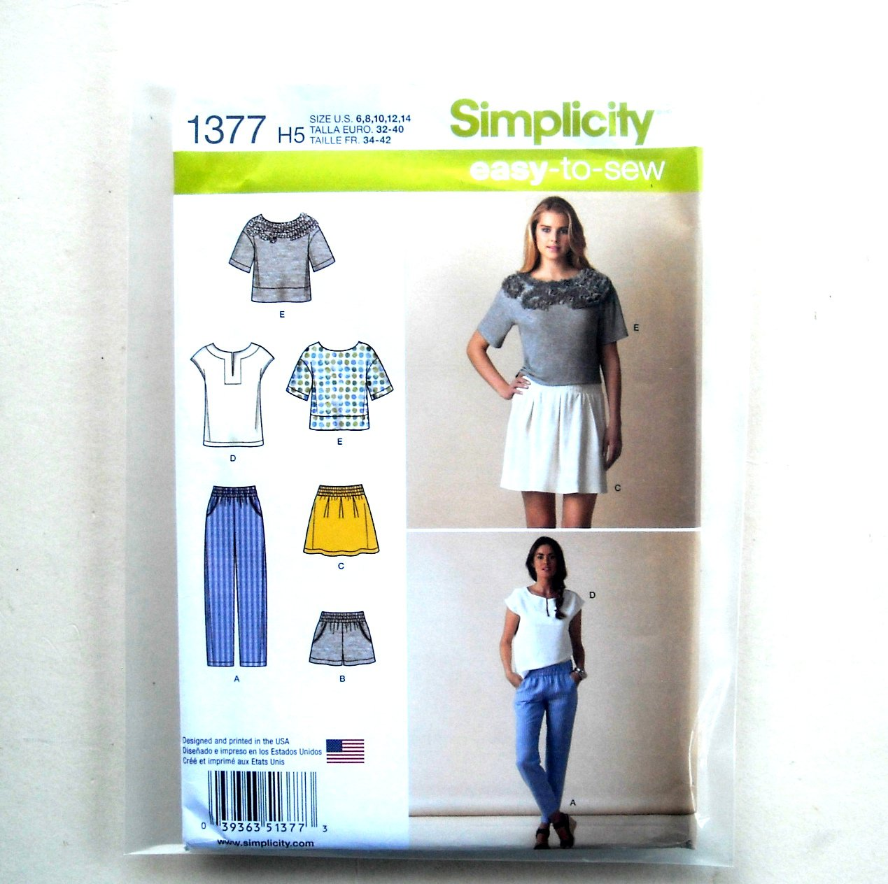 Misses Tops Pull On Bottoms 6 8 10 12 14 Simplicity Sewing Pattern 1377