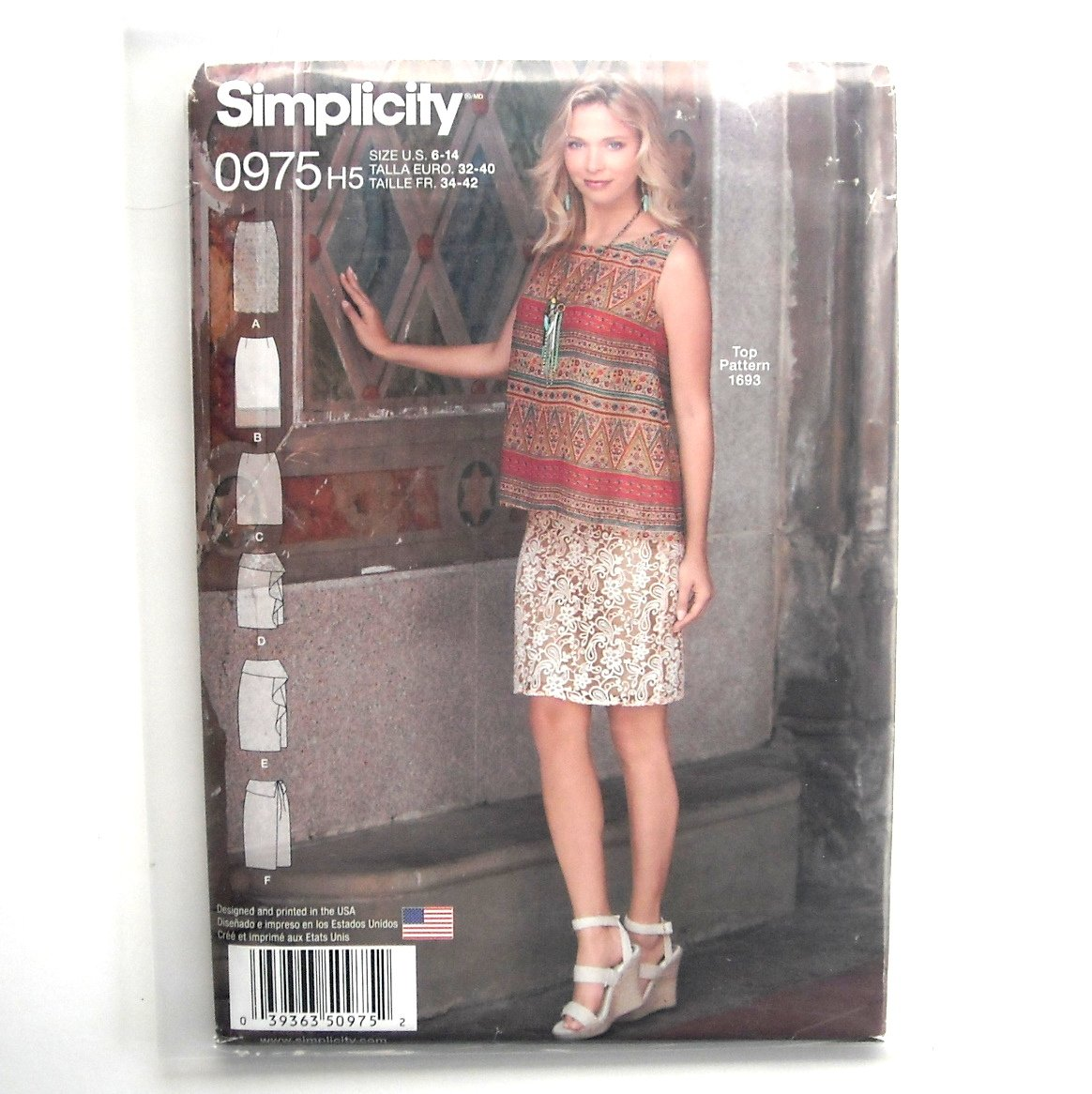 Misses Skirt Two Lengths Simplicity Sewing Pattern 0975