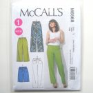 Misses Elastic Waist Shorts Pants XS S M McCalls Sewing Pattern M6568