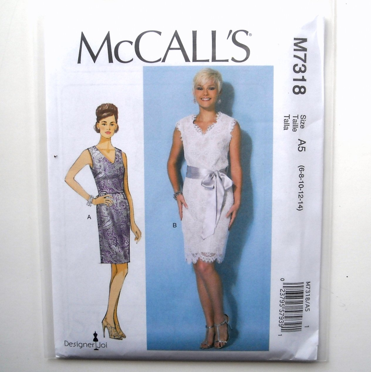 Misses V Neck Dresses 6 8 10 12 14 McCalls Sewing Pattern M7318