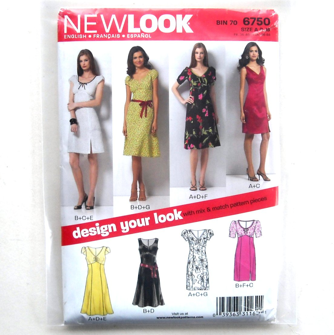 Misses Dresses Simplicity New Look Sewing Pattern 6750