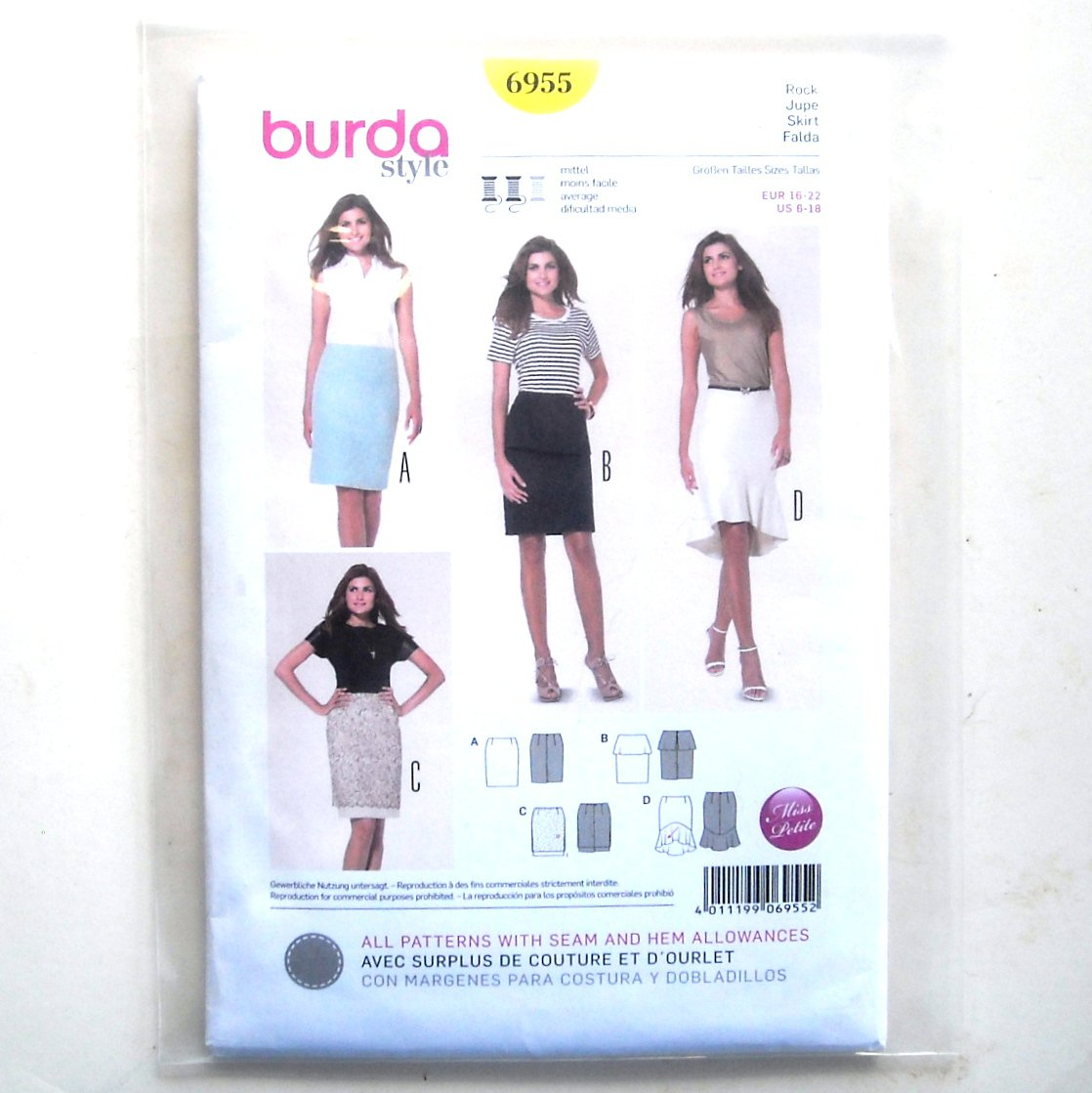 Misses Summer Skirts 6 - 18 Burda Style Sewing Pattern 6955