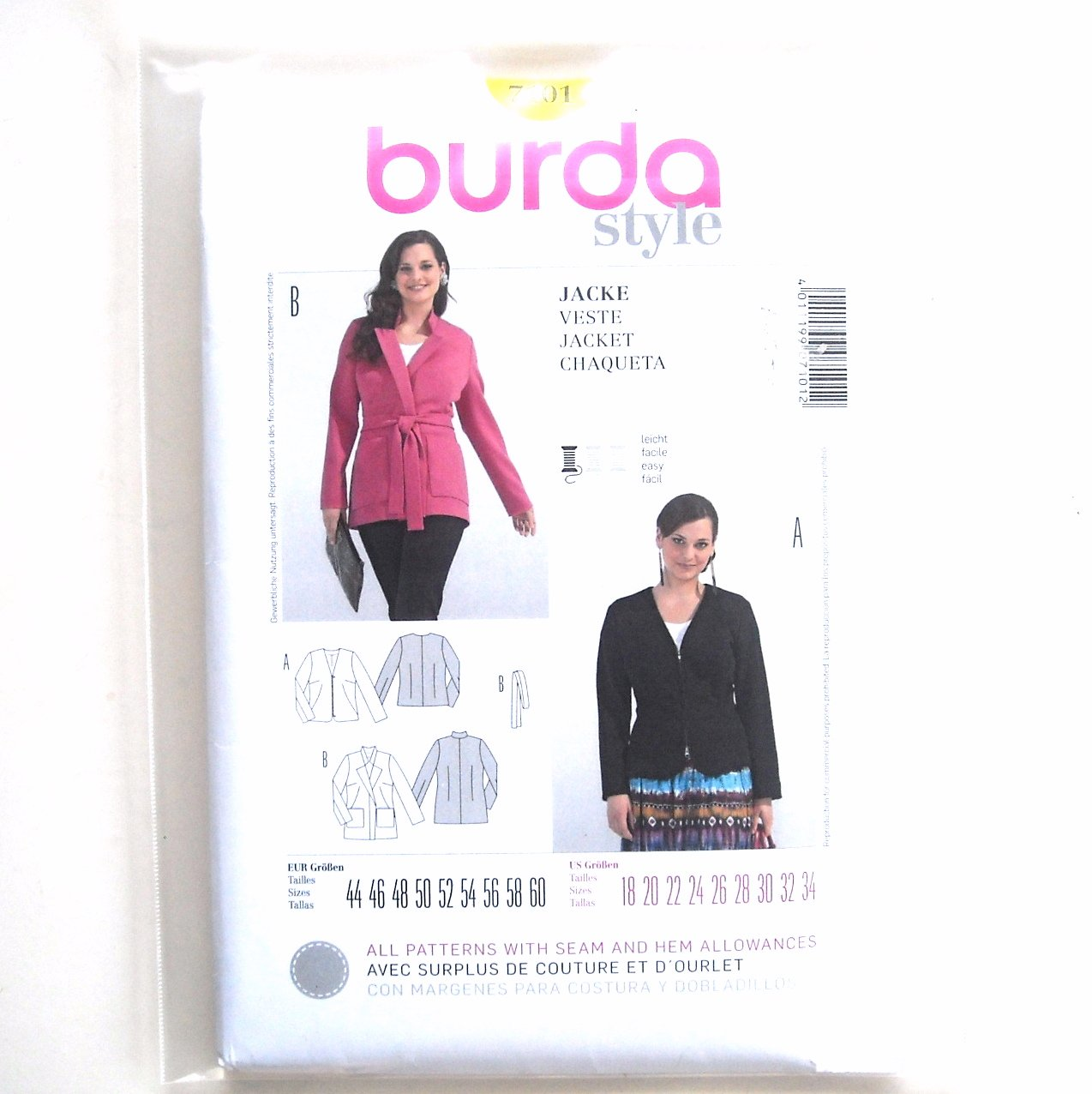 Misses Jacket Plus Size 18 - 34 Burda Style Sewing Pattern 7101