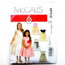 Girls Lined Dresses Sash McCalls Sewing Pattern MP418