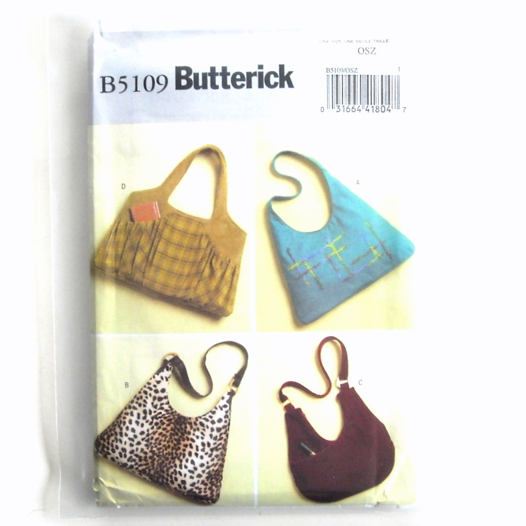 Large Bags Out of Print One Size Butterick Pattern B5109