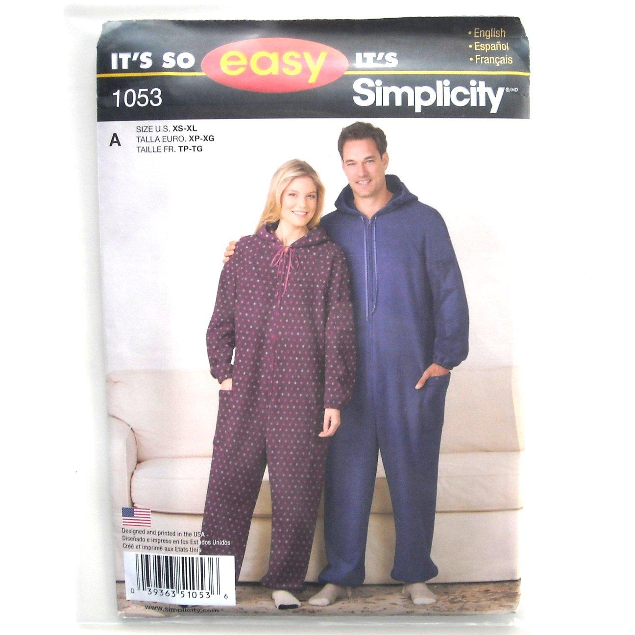 Fleece Jumpsuit XS - XL Easy Simplicity Sewing Pattern 1053