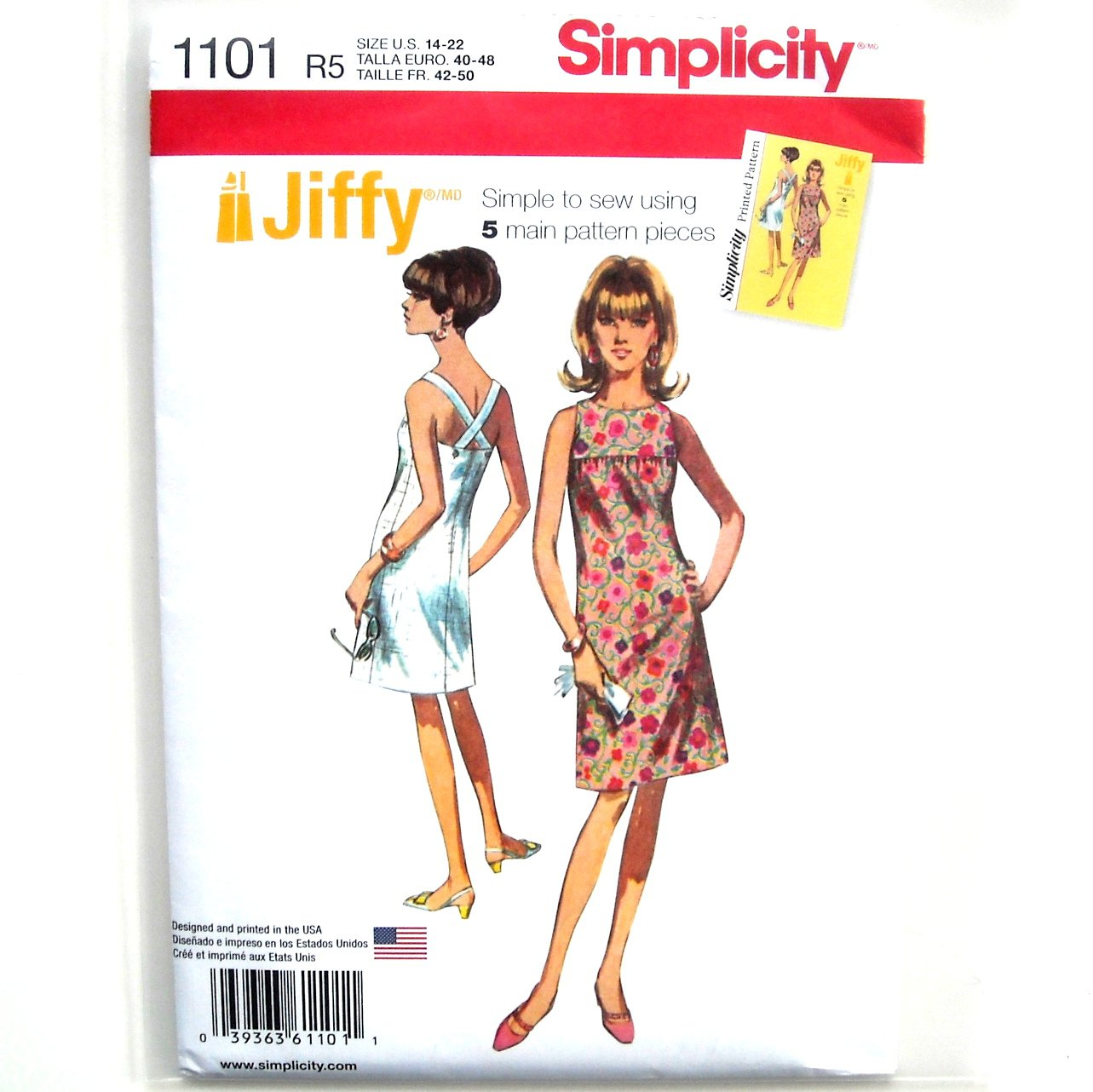 Misses 1960s Jiffy Dress 14 - 22 Simplicity Sewing Pattern 1101