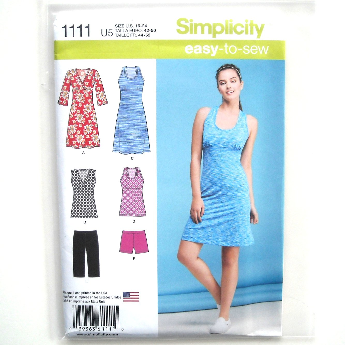 Misses Sport Dresses Tunics Shorts 16 - 24 Easy Simplicity Sewing Pattern 1111