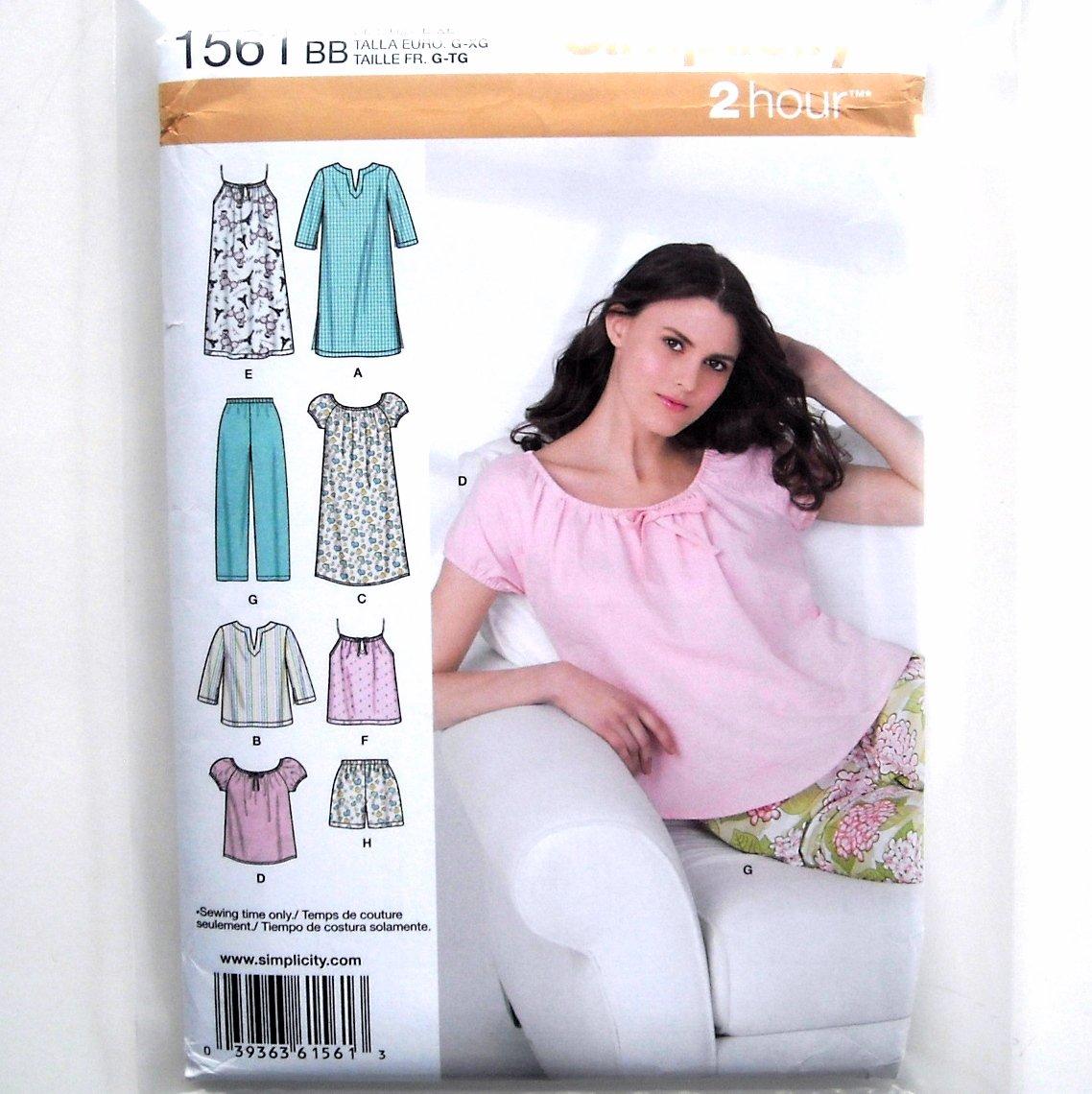Misses Sleepwear Nightgown L - XL Easy Simplicity Sewing Pattern 1561