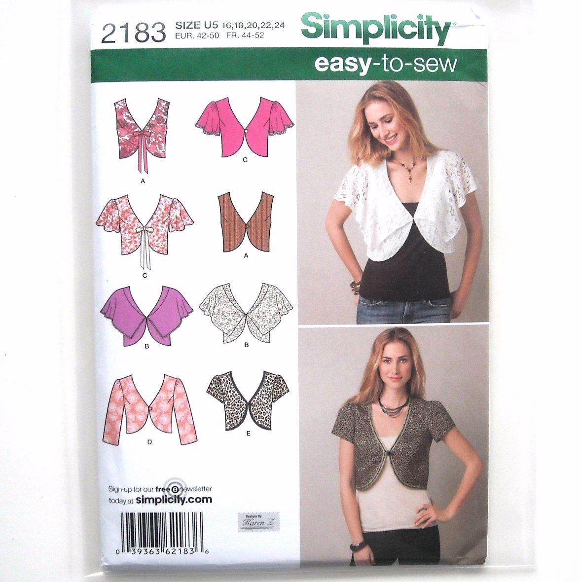 Misses Vest Jacket Easy Karen Z Simplicity Sewing Pattern 2183