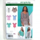 Misses Blouses Tops 6 - 14 In K Designs Simplicity Sewing Pattern 1162