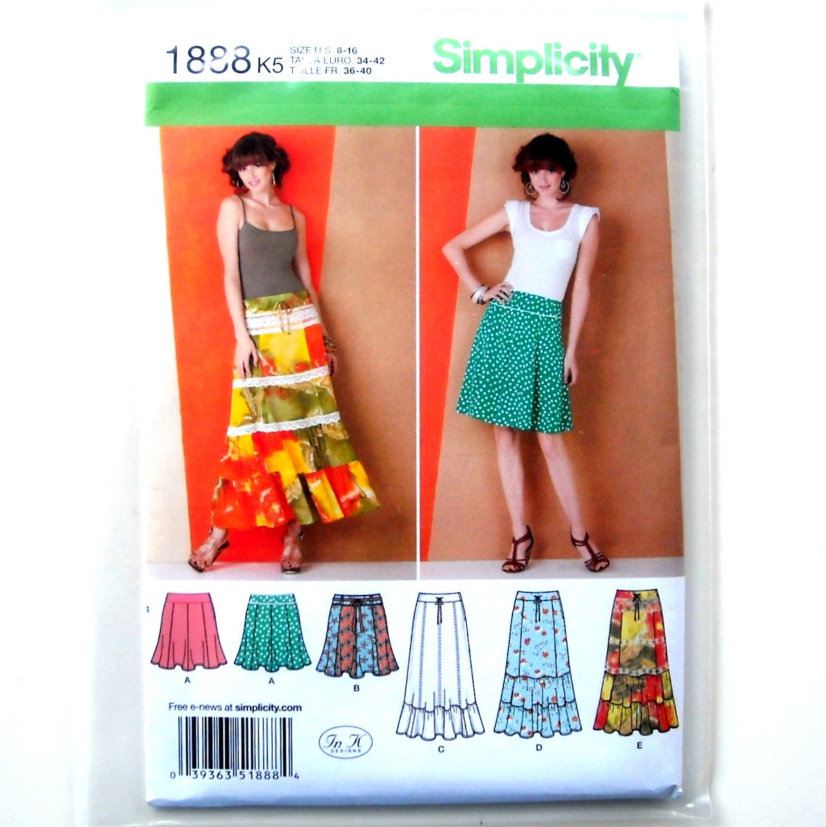 Misses Womens Gored Ruffled Skirts 8 - 16 In K Designs Simplicity Pattern 1888
