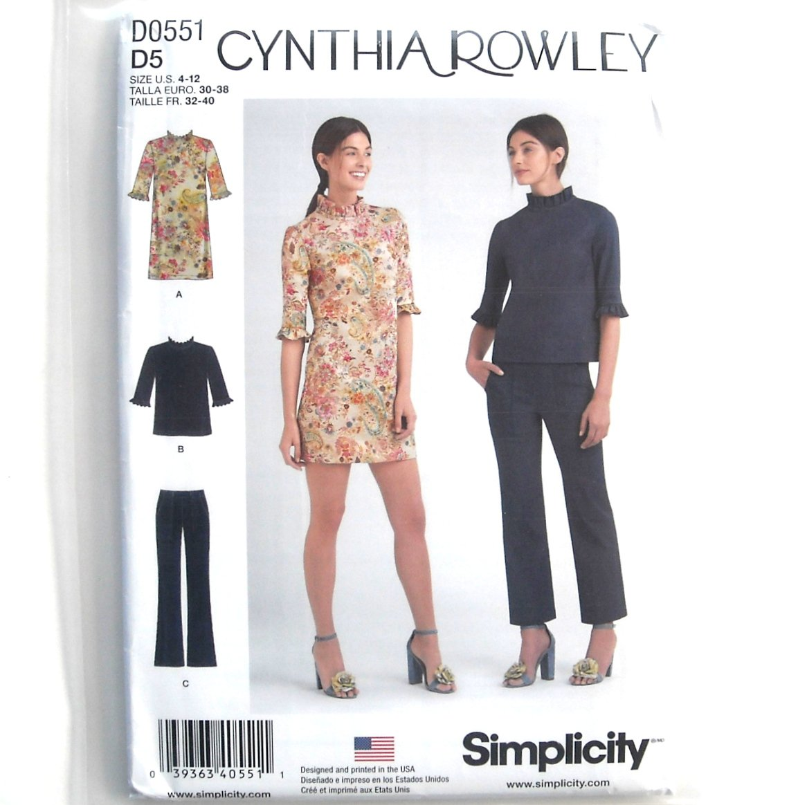 Cynthia Rowley Sewing Patterns: Misses Mini Dress Top Pants 4